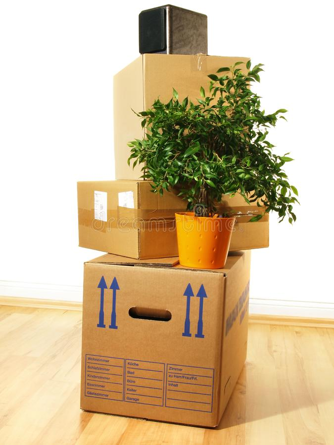 Moving Concept - Boxes. On white Background stock photography