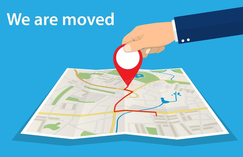 Moving concept. Changing address,. New location on navigation map. Use for, landing page, template, ui, web, mobile app, poster, banner Vector illustration in royalty free illustration