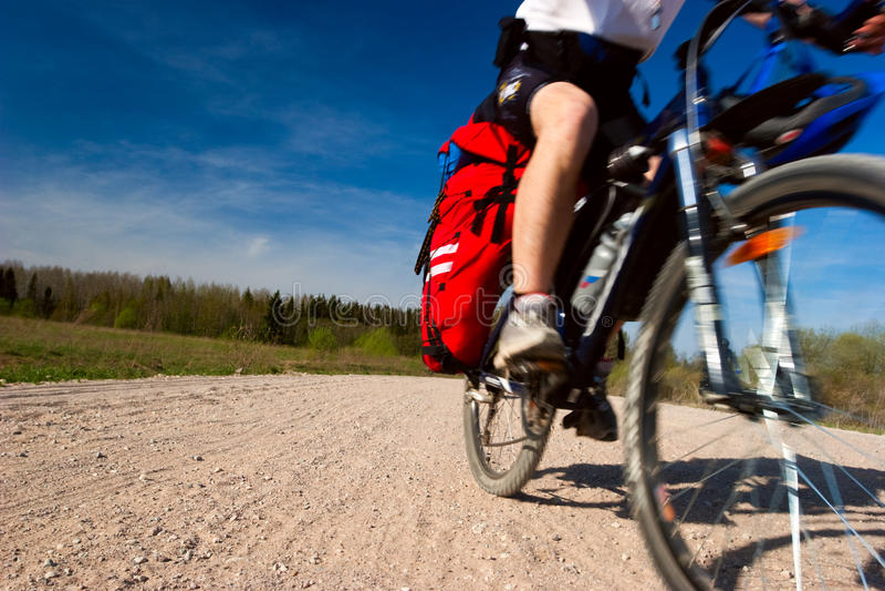 Moving cyclist stock photos