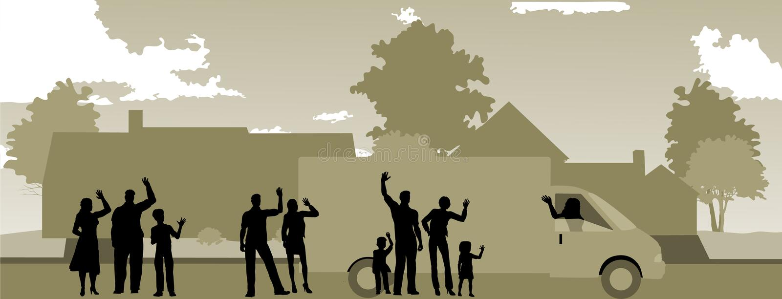 Moving Day with Neighbors Waving. Good by royalty free illustration