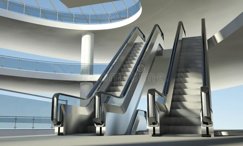 Download Moving Escalator And Modern Office Building Stock Illustration - Illustration of construction, bright: 29031743