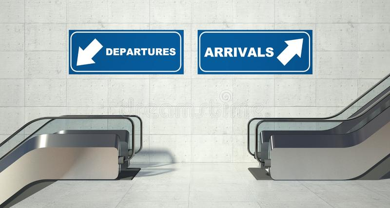 Moving escalator stairs, arrivals departures sign. Moving escalators stairs, arrivals departures sign stock photos