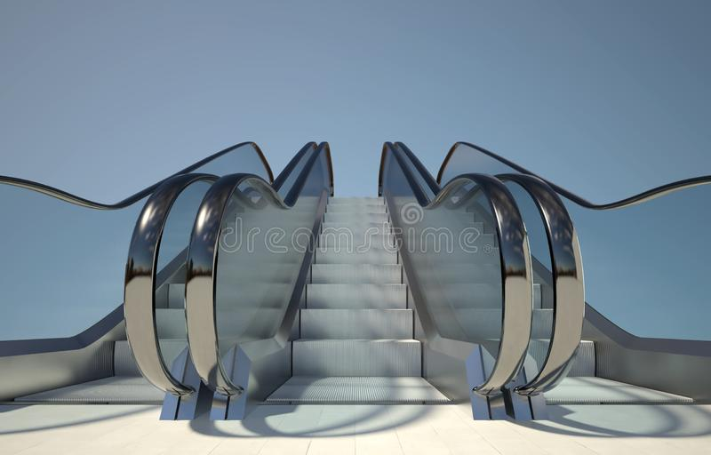 Moving escalators stairs, modern office building royalty free illustration