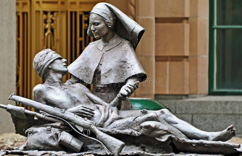 Anzac statue wounded soldier & nurse Brisbane city stock photo