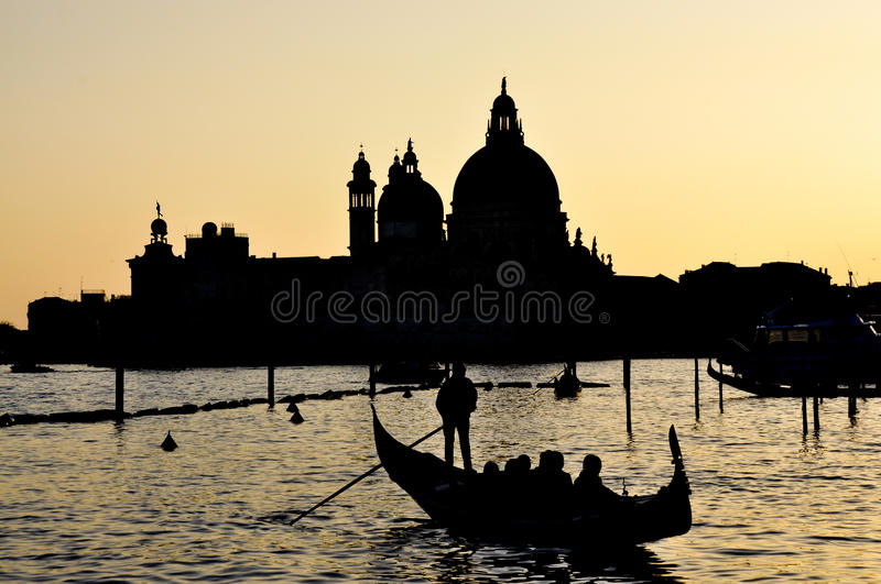 Moving by gondola in Venice stock photo