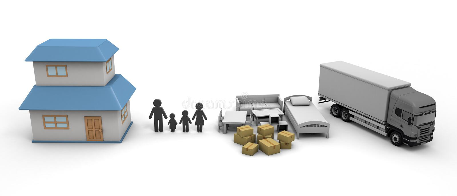 Moving Home purchase New Residence 3D illustration. Move with your family. New environment. A happy life is waiting. Carrying lots of furniture. Luggage are stock illustration