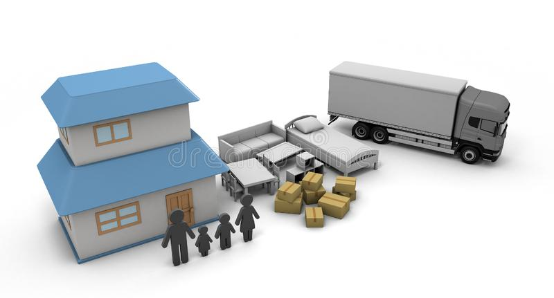 Moving Home purchase New Residence 3D illustration. Move with your family. New environment. A happy life is waiting. Carrying lots of furniture. Luggage are vector illustration
