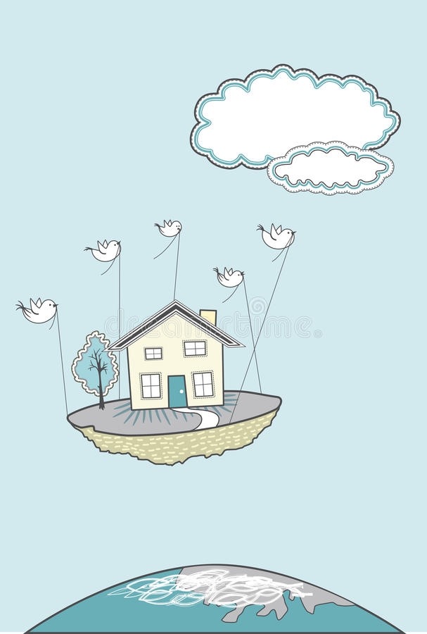 Moving House with birds stock illustration