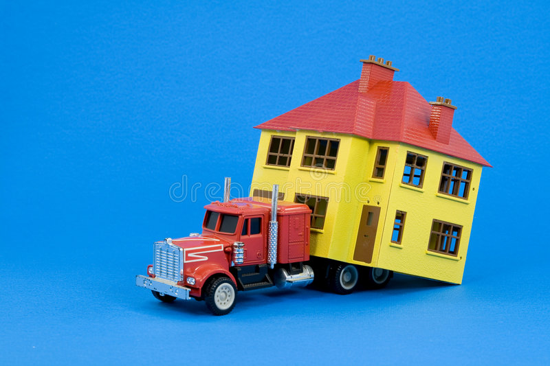 Moving house (blue version) stock photos