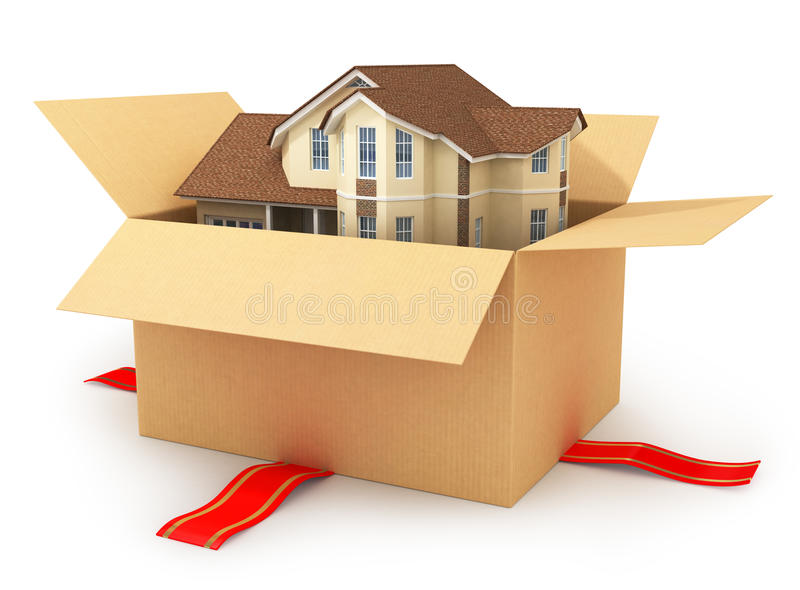 Moving house. Real estate market. Three-dimensional image. Isolated on white background vector illustration