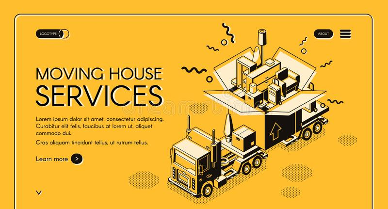 Moving house services vector webpage template. House moving and relocation service isometric vector web banner. Cargo truck carrying huge cardboard box with home stock illustration