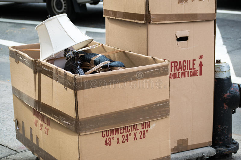 Moving Lamp in moving boxes. royalty free stock photo