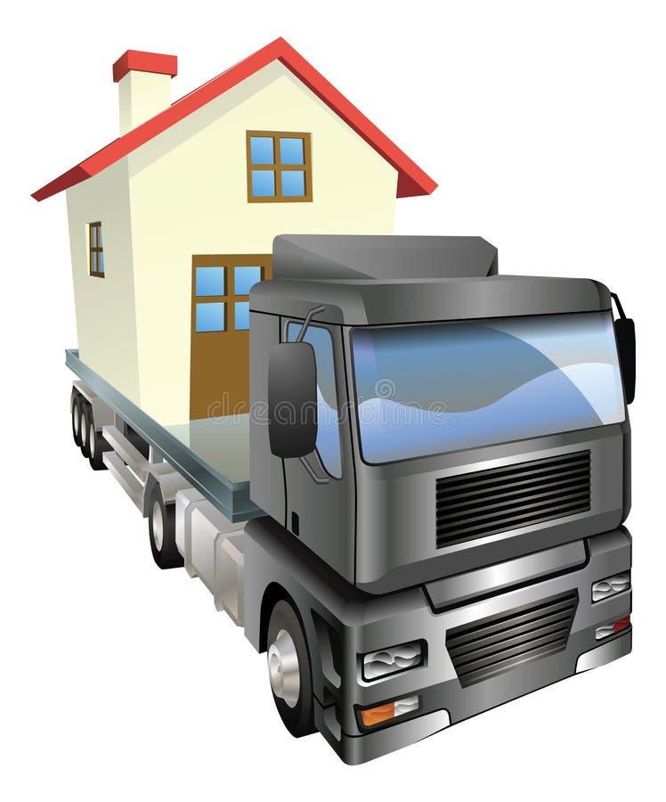 moving lastbil för begreppshus vektor illustrationer