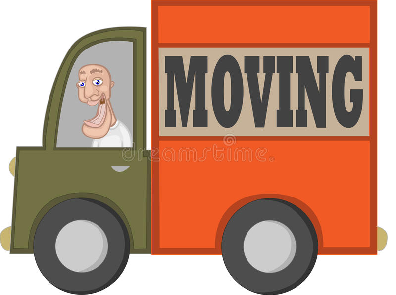 moving lastbil för tecknad filmchaufför royaltyfri illustrationer
