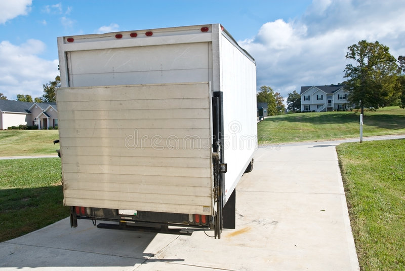moving lastbilskåpbil för leverans fotografering för bildbyråer