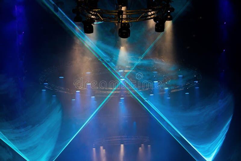 Moving LED Par lighting on construction light beam royalty free stock image
