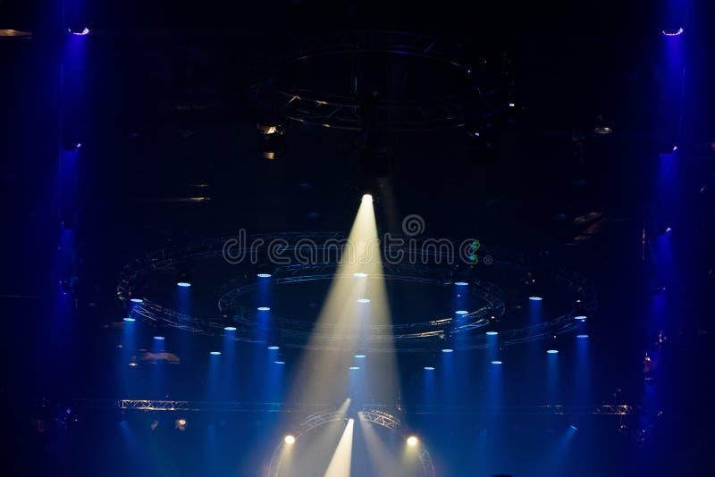 Moving LED Par lighting on construction light beam stock images
