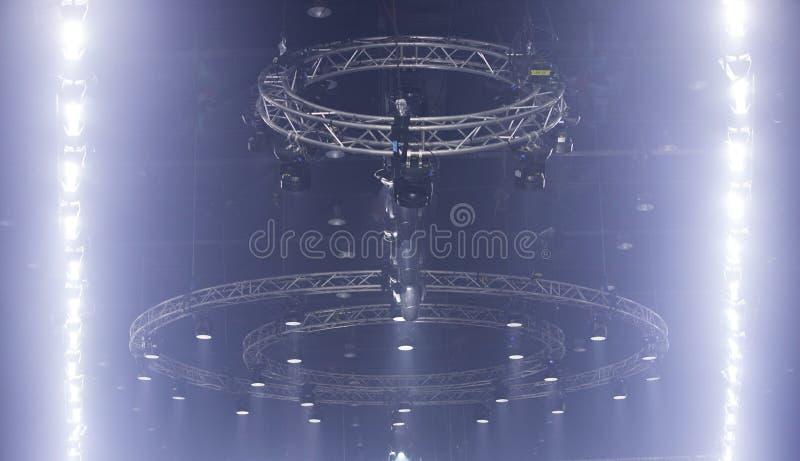 Moving LED Par lighting on construction light beam royalty free stock images