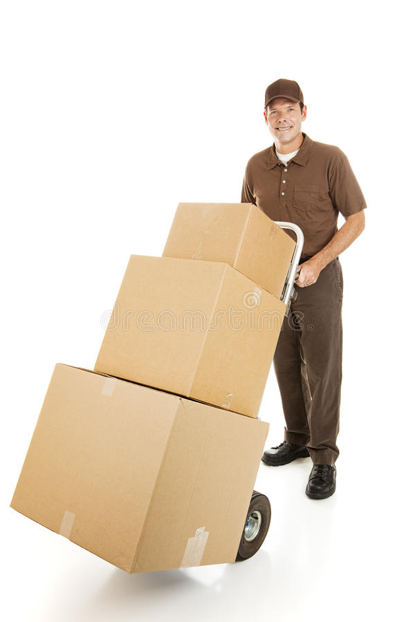 Moving Man Delivers Boxes royalty free stock photo