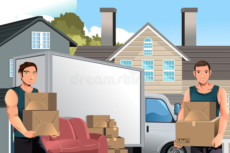 Moving men with truck and boxes vector illustration