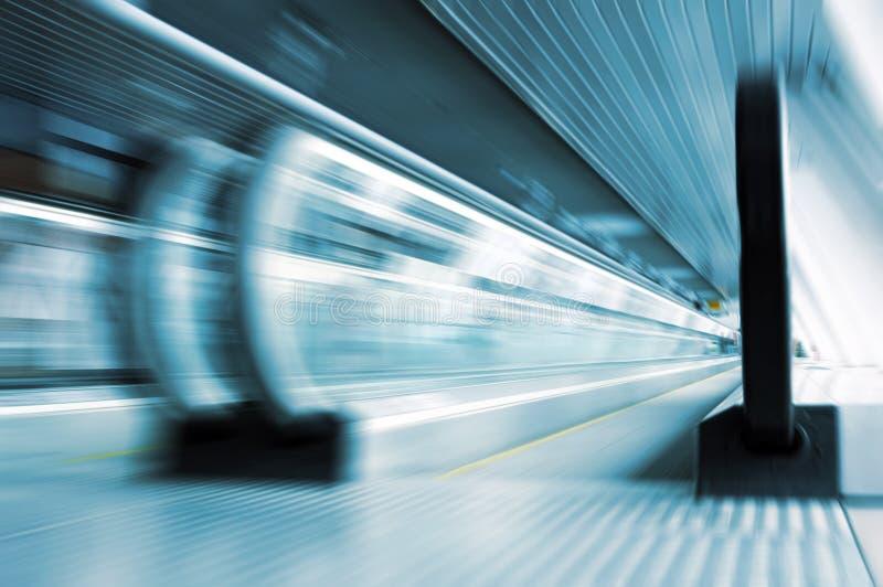 Moving metro escalator stock photo