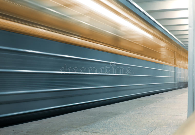 Moving metro train. Moscow, Russia stock images