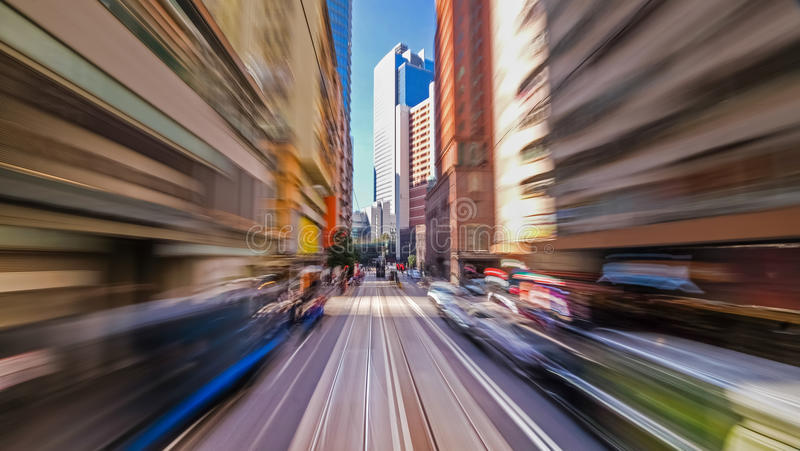 Moving through modern city street. Hong Kong. royalty free stock photos