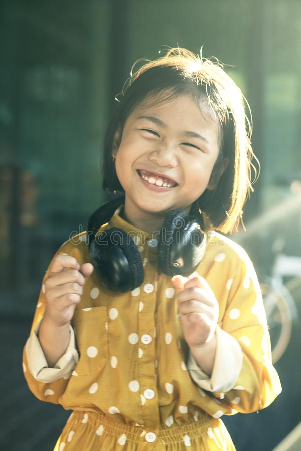 Free Moving Motion Of Lovely Asian Children Dancing With Music Rythm Stock Photography - 132401802