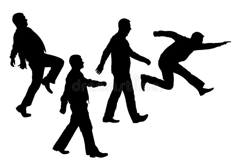 Moving people silhouette vector royalty free illustration