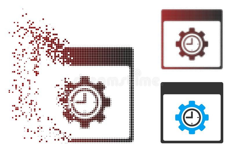 Moving Pixel Halftone Clock Configuration Gear Calendar Page Icon. Vector clock configuration gear calendar page icon in dissolved, pixelated halftone and royalty free illustration