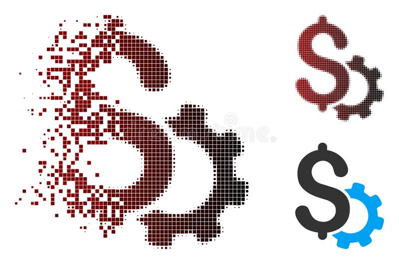 Growth Chart Dissolving Pixel Halftone Icon Stock Vector