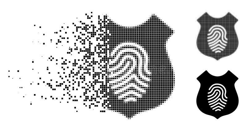 Moving Pixelated Halftone Fingerprint Shield Icon stock illustration