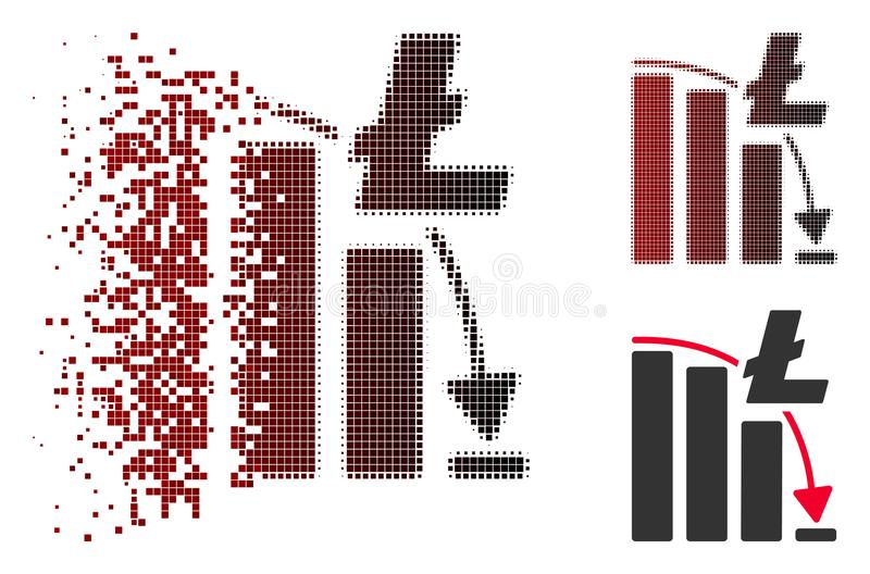 Moving Pixelated Halftone Litecoin Epic Fail Chart Icon royalty free illustration