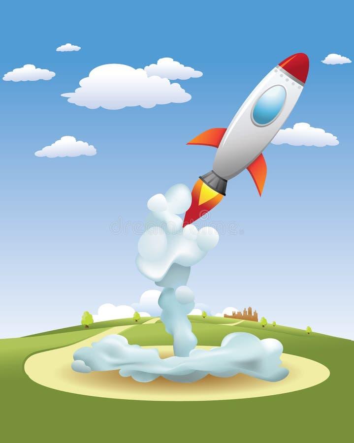 moving raket upp stock illustrationer