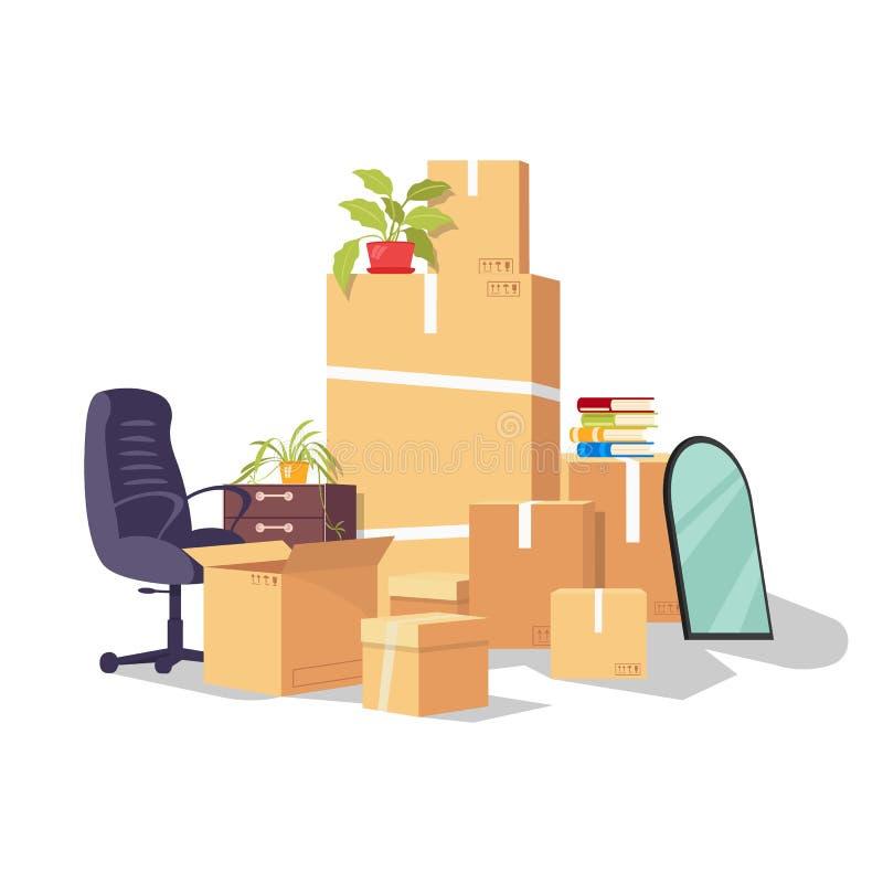Moving by reason changing work, job, promotion, career development, dismissal. vector illustration