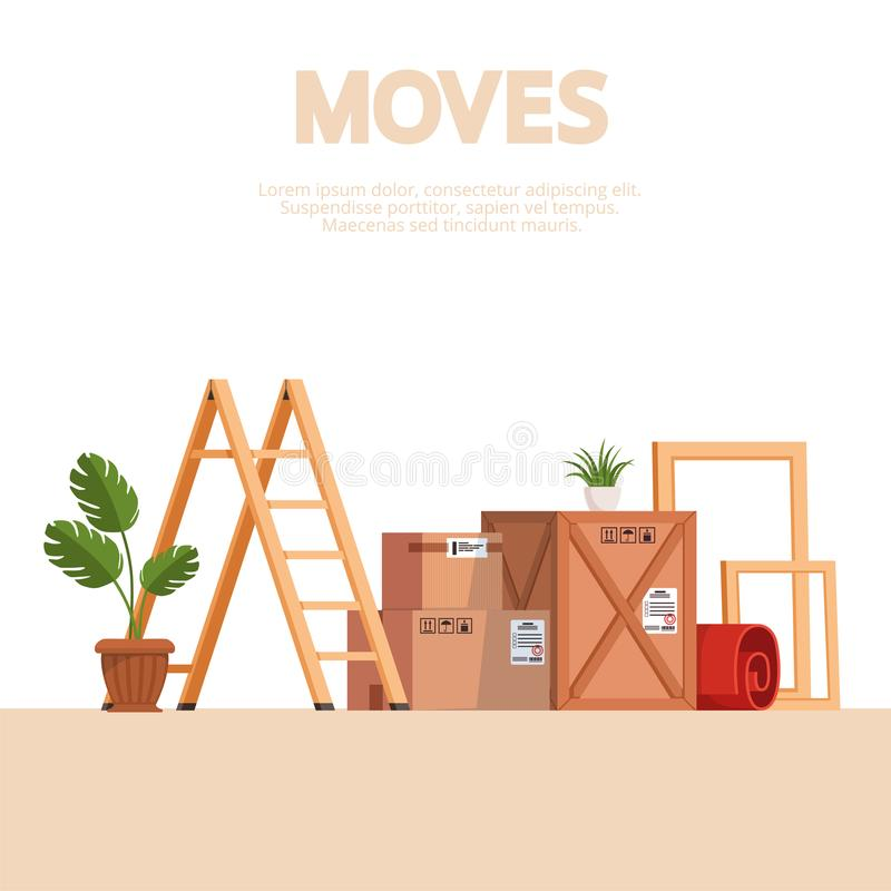 Moving scene with boxes, stairs, frames, carpet and indoor plants on a white background. Vector illustration. Moving scene with boxes, stairs, frames, carpet and vector illustration