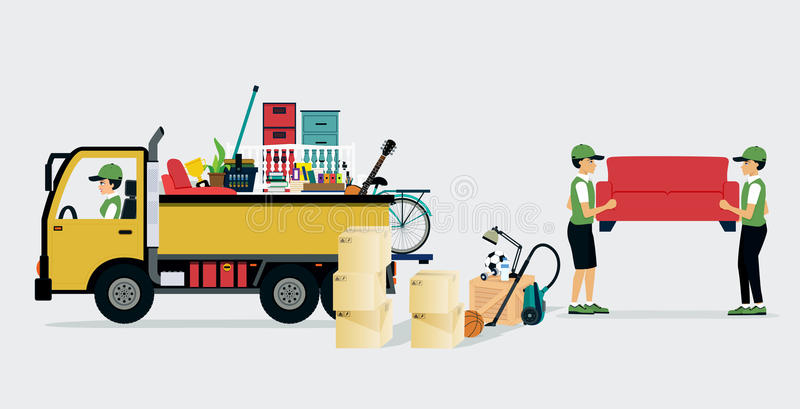 Moving Services. Workers transport services and professional services delivery stock illustration