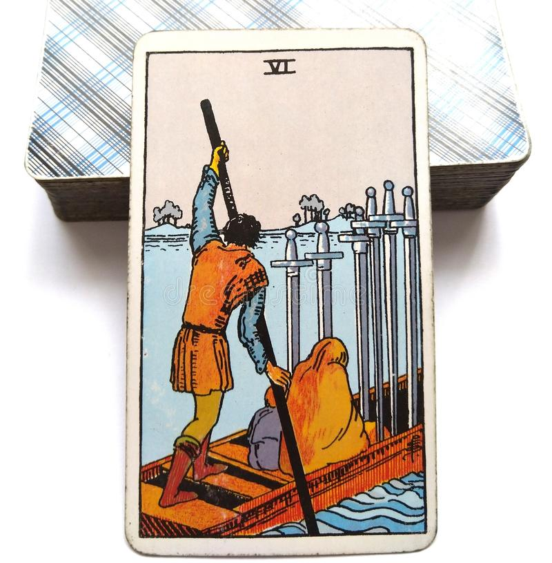 6 Six of Swords Tarot Card Moving On Slow Healing Progress but slow Calmer Waters. Moving On Slow Healing Progress but slow Calmer Waters Finding a Safe Harbour stock illustration