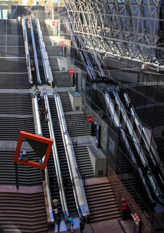 Moving stairs in the railway station of Kyoto, Japan. royalty free stock images