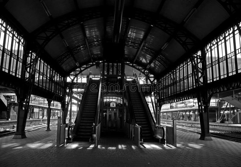 Moving stairway at railwaystation royalty free stock photo