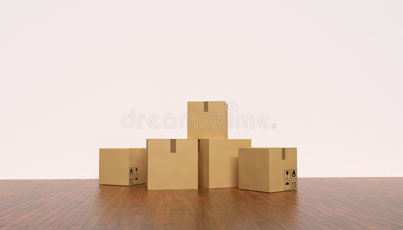 Moving to a new house concept. Empty room with cardboard boxes. 3D rendered illustration. Moving to a new house concept. Empty room with cardboard boxes. 3D royalty free illustration
