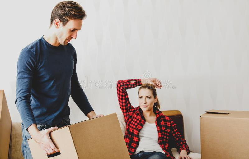 Moving to new house stock photo