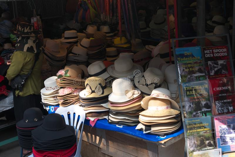 Hat shop at River Kwai Bridge Railway Station stock photography