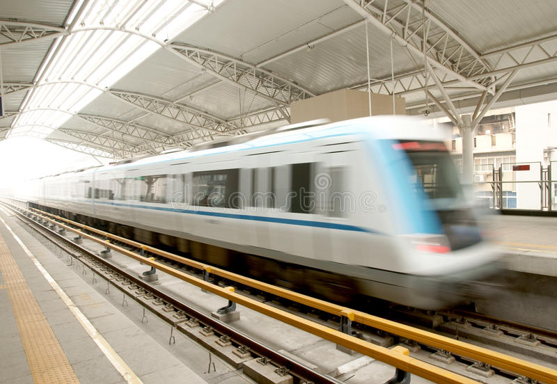 Moving train. Moving fast train in China royalty free stock photography