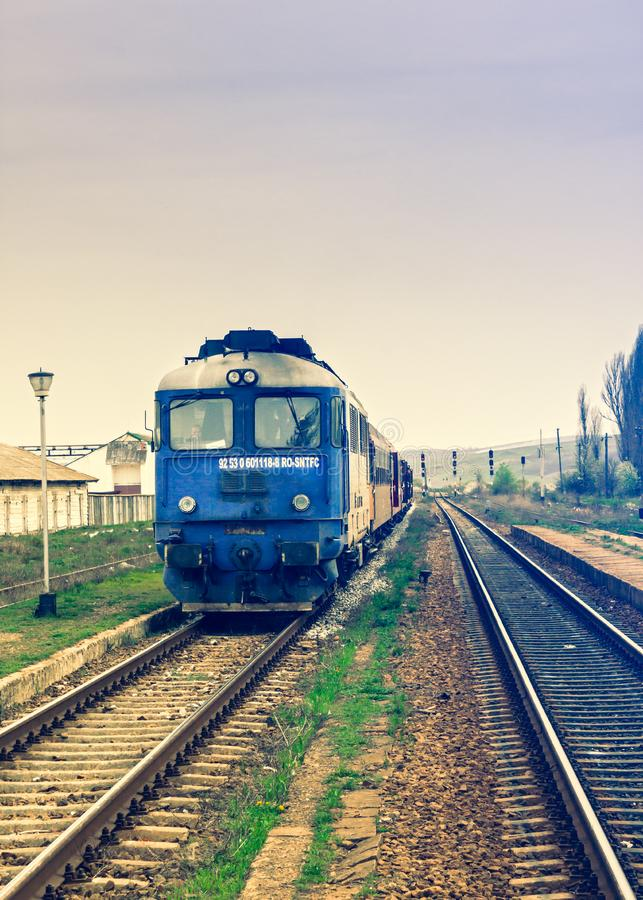 Moving train on track stock photography