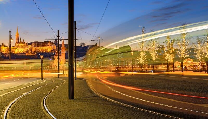 Moving tram lighting trail stock photo