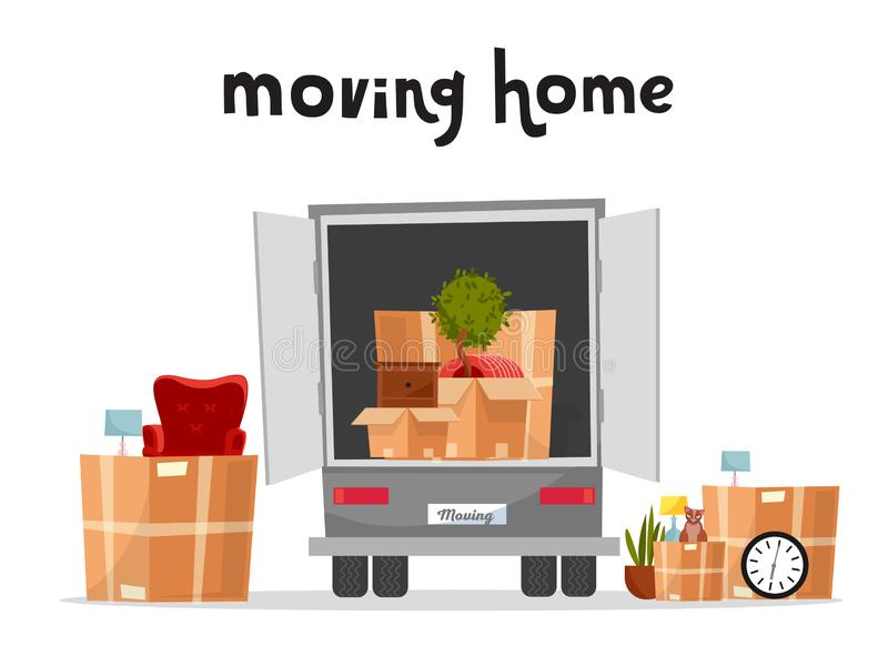 Moving Truck with Boxes. Back side of the loading truck. Cardboard boxes inside and outside the vehicle.Packed interior furniture. And cat. lettering moving stock illustration