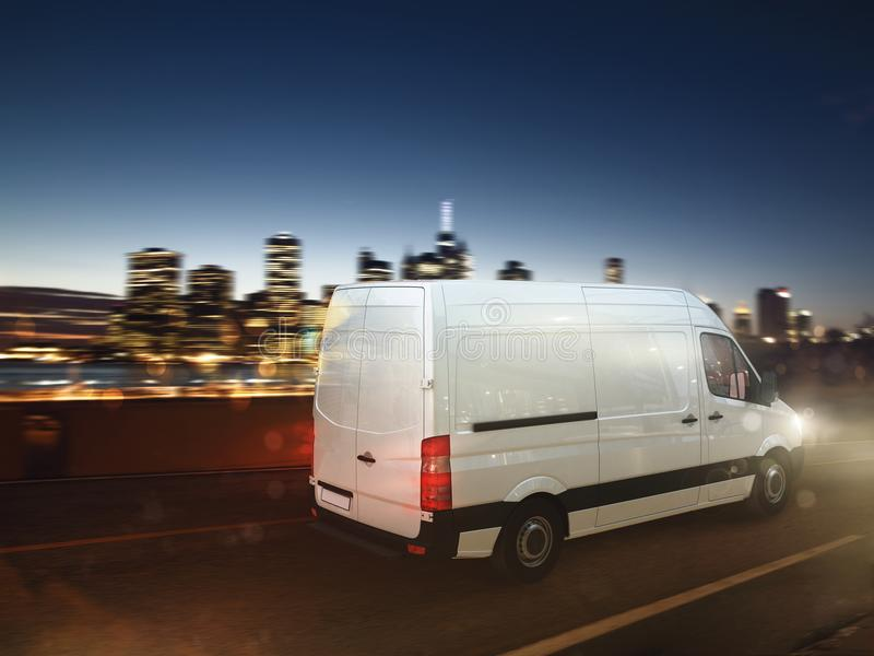Fast van on a city road delivering at night. 3D Rendering. Moving truck on a city road with skyscrapers background. 3D Rendering royalty free illustration