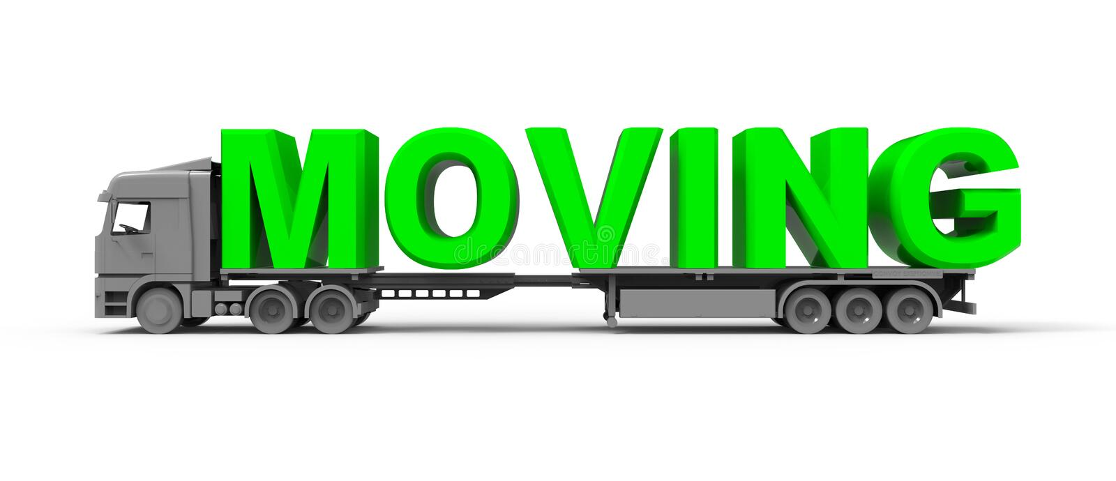 Moving truck concept. Moving text in green color loaded in to a truck stock illustration