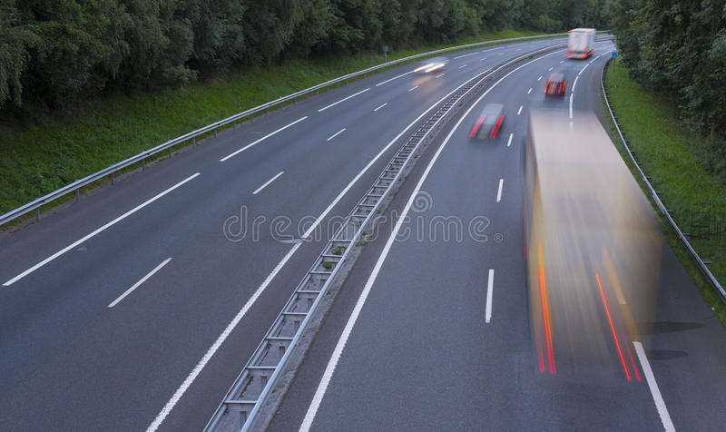 Moving truck on the freeway royalty free stock photo
